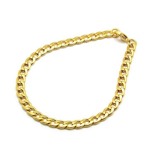 Stainless Steel Cable Bracelet5x7mm Golden with Clasp 21cm