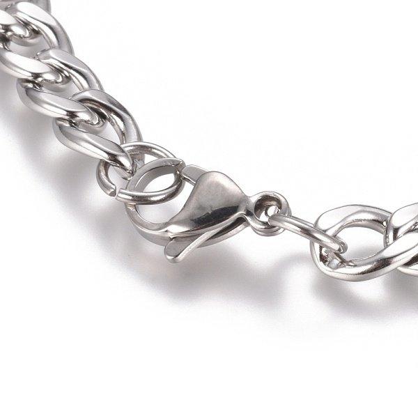 Stainless Steel Kabel 10x7mm Armband met Karabijn Sluiting Zilver 21cm