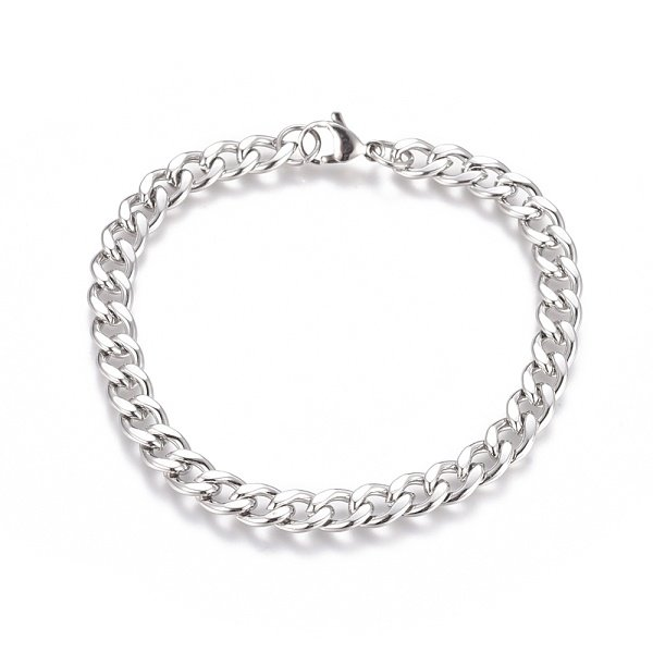 Stainless Steel Cable 10x7mm Bracelet with Lobster Clasp Silver 21cm