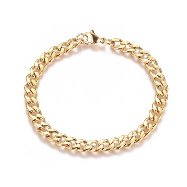 Stainless Steel Cable 10x7mm Bracelet with Lobster Clasp Gold 21cm