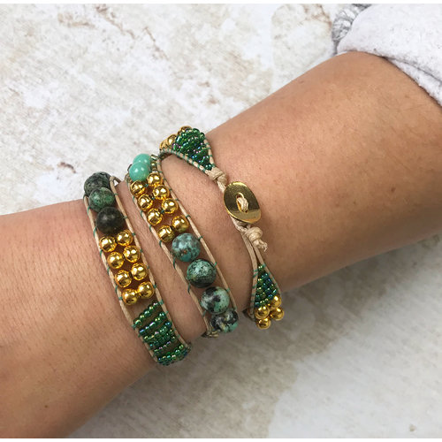 Self A Wrap Bracelet Making - Green with Gold