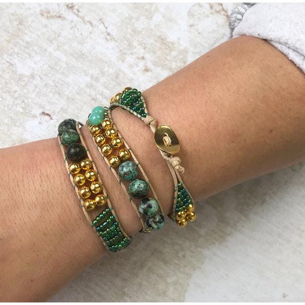 Zelf Een Wrap Armband Maken - Groen met Goud