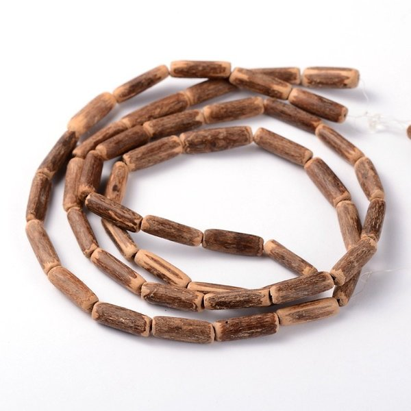 Strand 48 pieces Natural Tube Coconut Beads Camel 4x14-19mm
