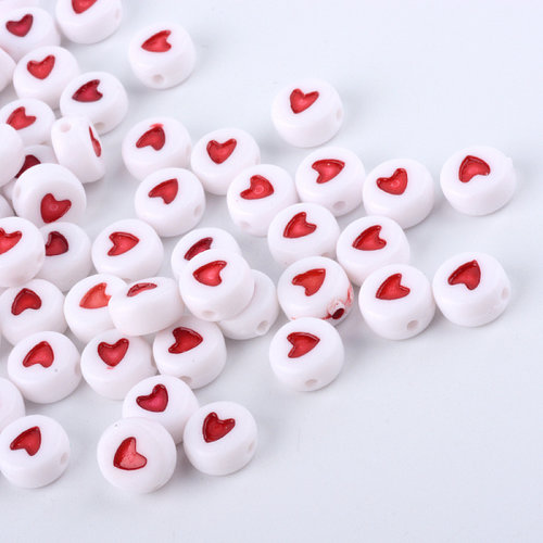 25 pieces Acrylic Bead White with Red Heart 7mm