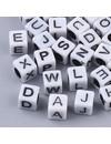 Complete Alfabet Mix Kubus Letterkralen Wit 6mm, Voordeel Verpakking 400 stuks
