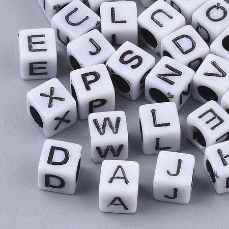Complete Alphabet Mix Cube Letter Beads White 6mm, 400 pieces