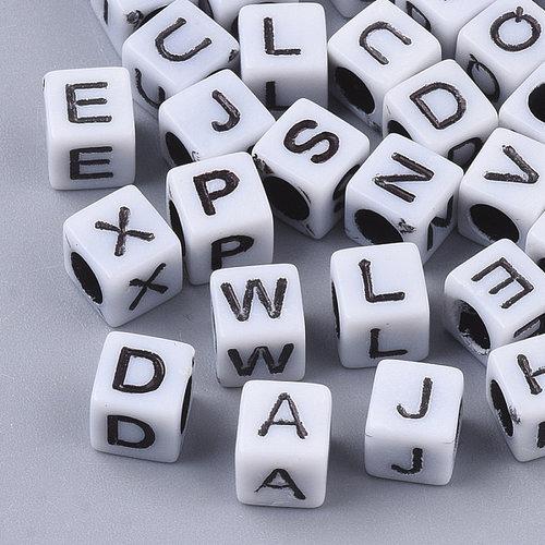 Alfabet Mix Kubus Letterkralen Wit 6mm, 400 stuks