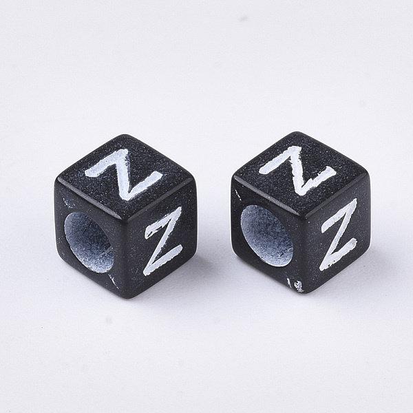 Letterkralen Vierkant Zwart met Witte Letters 6mm, 400 stuks gemixed
