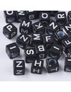Letterbeads Cube Black with White 6mm, 400 pieces mixed