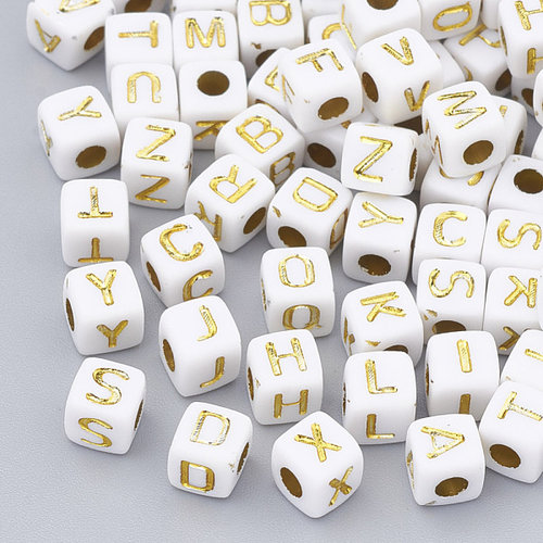 400 pieces Alphabet Beads Cube White with Gold 5mm