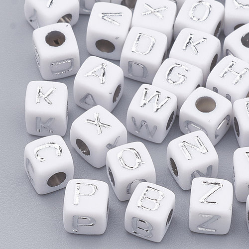 400 pieces Alphabet Beads Cube White with Silver 5mm