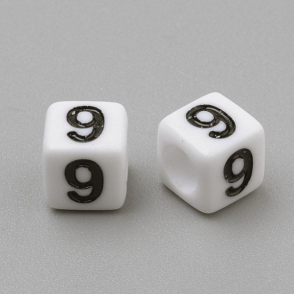 Mix Kubus Cijfer Kralen Wit 6mm, Voordeel Verpakking 300 stuks