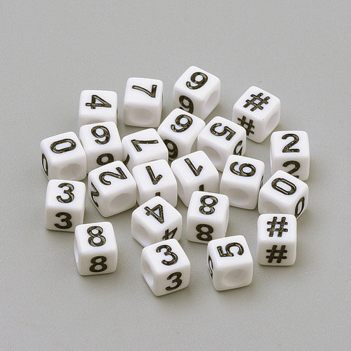 Mix Cube Number Beads White 6mm, 300 pieces