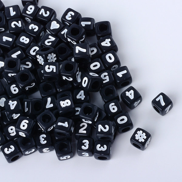 Mix Cube Number Beads Black 7mm, 300 pieces