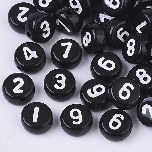 Number Beads Black 7mm, 300 pieces