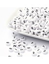 Number Beads White with Black Print 7mm, 300 pieces