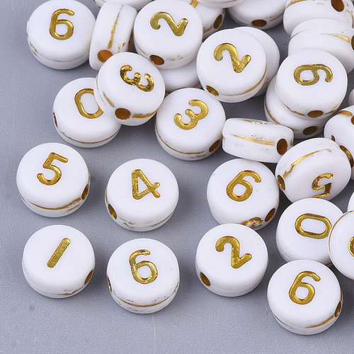 Number Beads White with Golden Print 7mm, 300 pieces