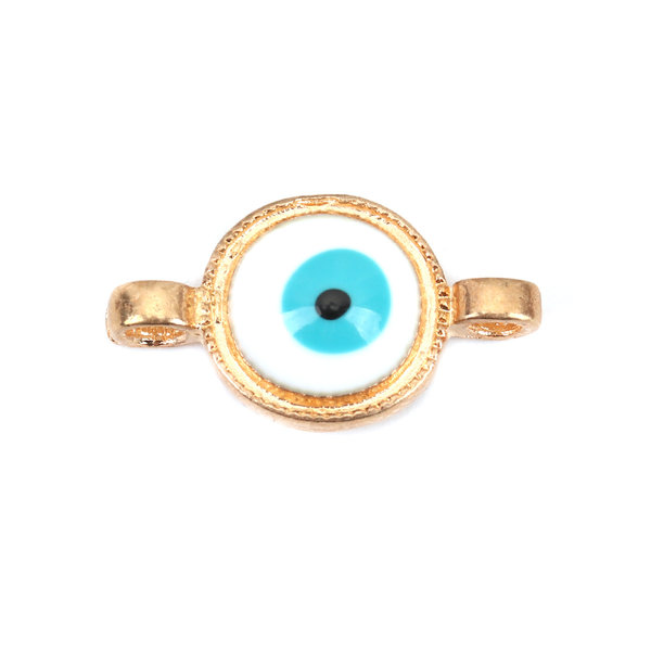 3 pieces Connector Evil Eye Turquoise Gold 17x10mm Gold Plated