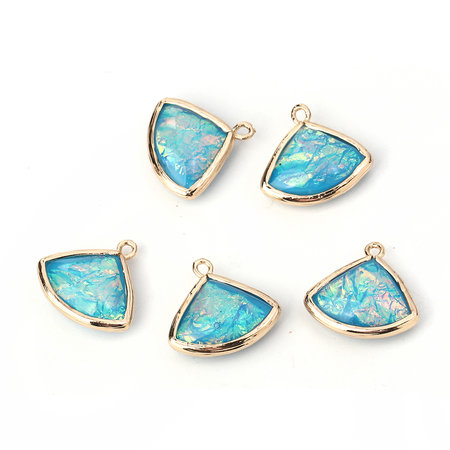 2 pieces Fan Charms Aqua Blue 19x18mm
