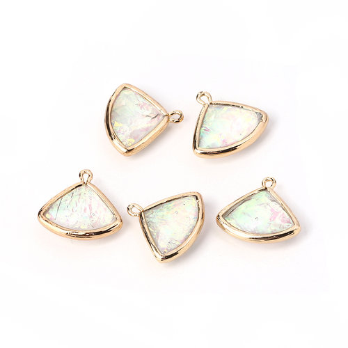 2 pieces Fan Charms Crystal Shine 19x18mm