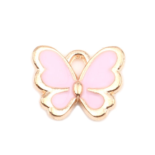 3 pieces Butterfly Charm Pink Gold Plated 13x11mm