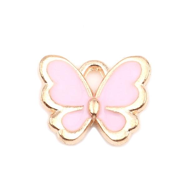Vlinder Bedel Roze Gold Plated 13x11mm, 3 stuks