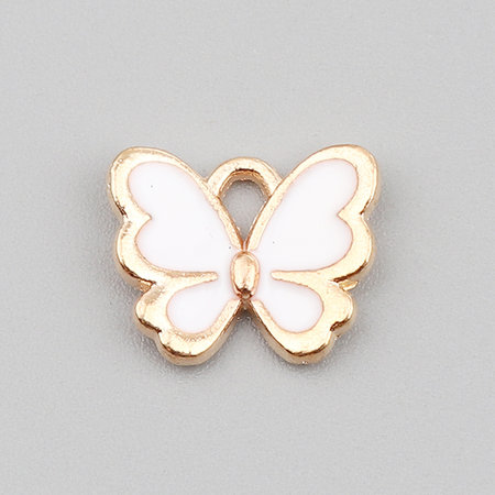 3 pieces Butterfly Charm White Gold Plated 13x11mm
