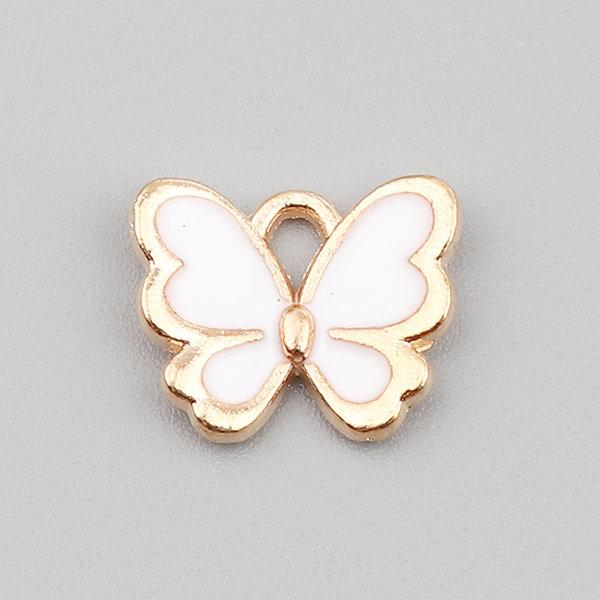 Vlinder Bedel Wit Gold Plated 13x11mm, 3 stuks