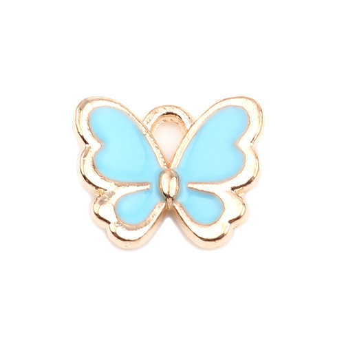 3 pieces Butterfly Charm Blue Gold Plated 13x11mm