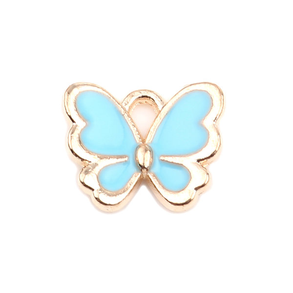 Butterfly Charm Blue Gold Plated 13x11mm, 3 pieces