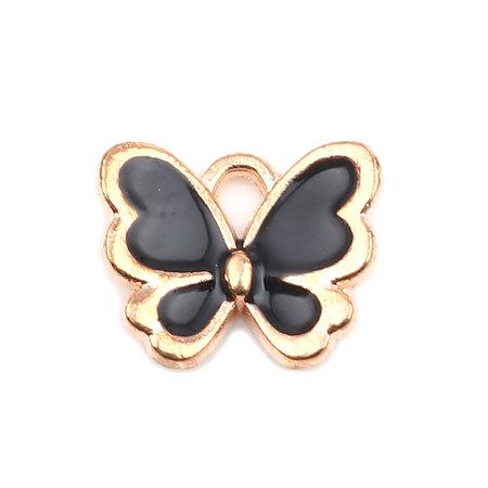 3 stuks Vlinder Bedel Zwart Gold Plated 13x11mm