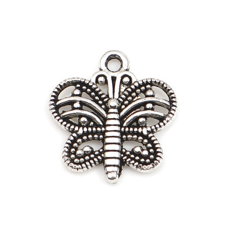 8 pieces Silver Butterfly Charm 15x14mm