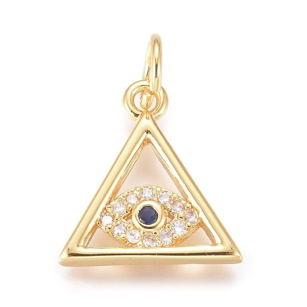 Luxurious Brass Charm Triangle with Eye Gold with Zirconia 13x12mm