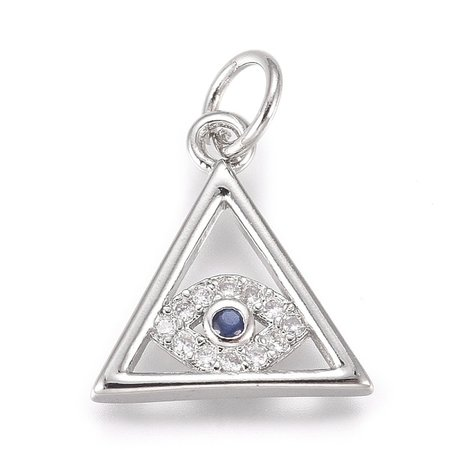 Charm with Zirconia Triangle with Eye Silver 13x12mm