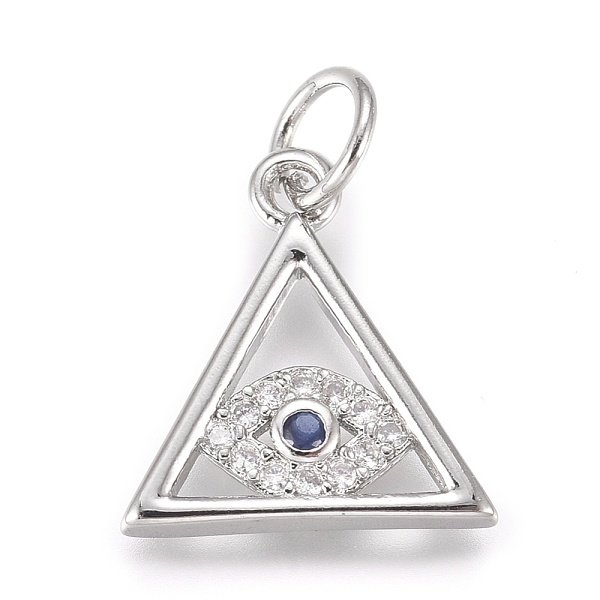 Luxurious Brass Charm Triangle with Eye Silver with Zirconia 13x12mm