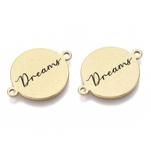 Stainless Steel Tussenzetsel Dreams Goud 16x21mm