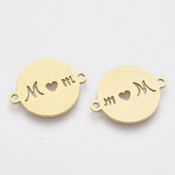 Stainless Steel MOM with Heart Connector 16x20mm