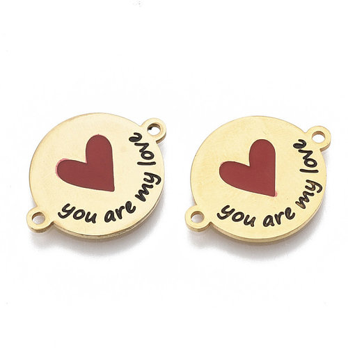 Stainless Steel Connector 'You Are My Love' Goud 16x21mm