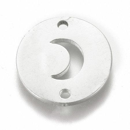 Stainless Steel Maan Tussenzetsel Zilver 12mm