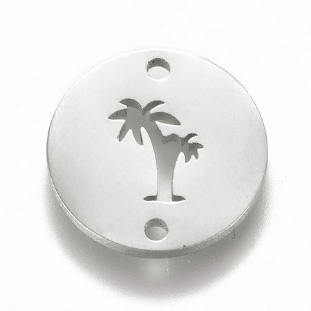 Stainless Steel Palm Tree Connector Silver 12mm