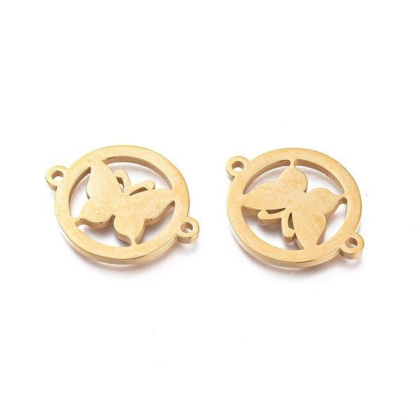 Stainless Steel Butterfly Connector Gold 16x20mm