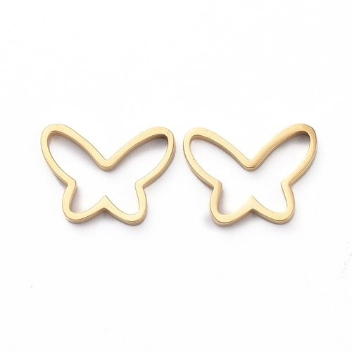 Stainless Steel Butterfly Connector Gold 9x12mm