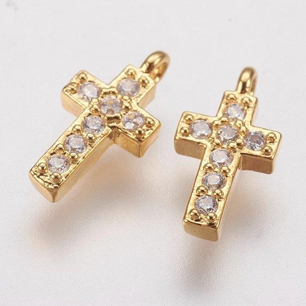 Luxurious Brass Charm Gold with Zirconia 10x5mm Cross