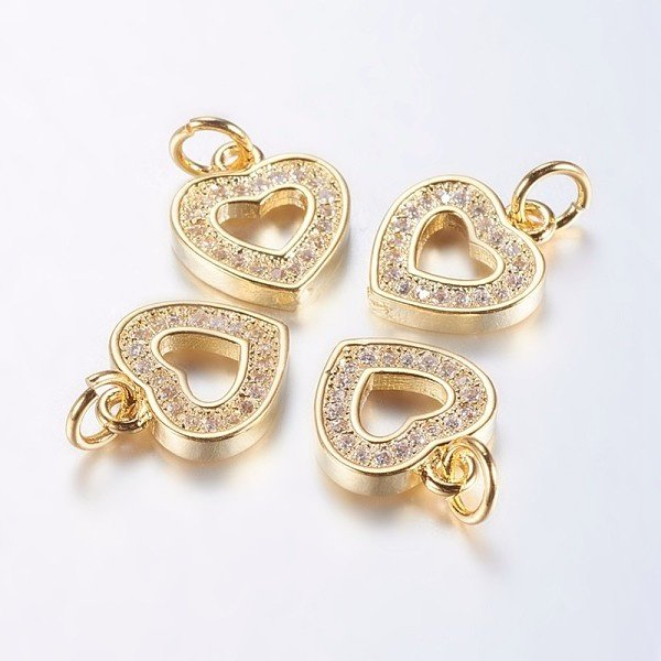 Luxurious Brass Charm Gold with Zirconia 13x11mm Heart