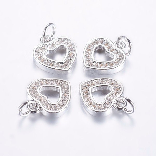 Luxurious Brass Charm Silver with Zirconia 13x11mm Heart