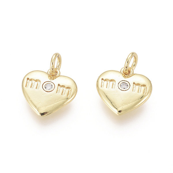 Luxurious Brass Charm Gold with Zirconia 11x11mm MOM on Heart