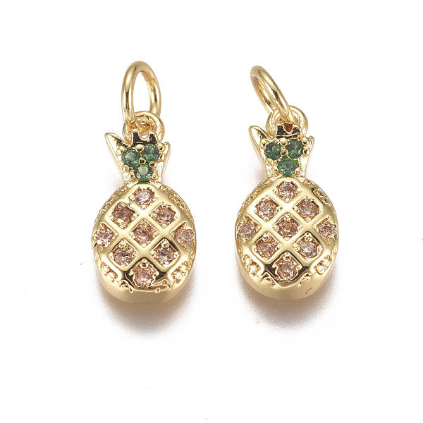Luxurious Brass Charm Gold with Zirconia 12x6mm Pineapple