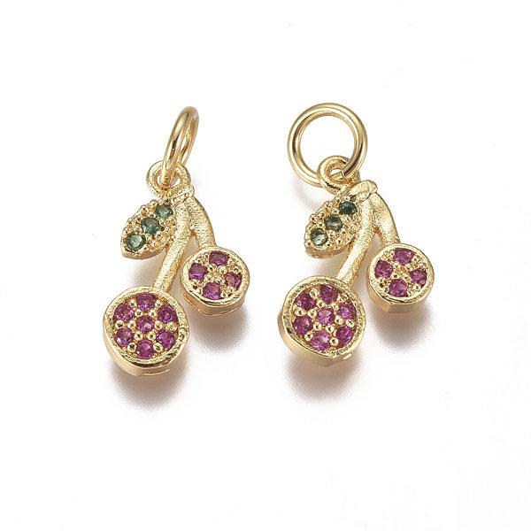 Luxurious Brass Charm Gold with Zirconia 12x7mm Cherries