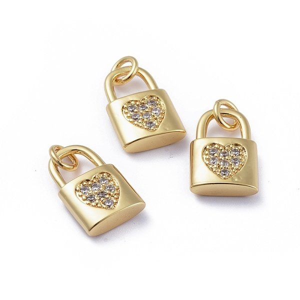 Luxurious Brass Charm Gold with Zirconia 15x10mm Lock with Heart