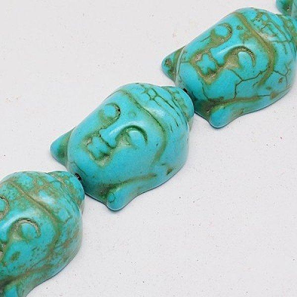Buddha Kraal Groot Blauw 29x20mm, 3 stuks